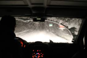 Pam dans une tempête de neige